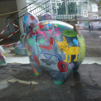 Kunstaktion mit Kindern zum Weltspartag